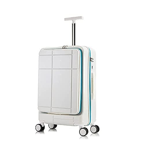 QIXIAOCYB Maleta de equipaje para hombre y mujer con apertura frontal de negocios, maleta universal de cuero de moda color naranja de 26 pulgadas (color: blanco, tamaño: 24 pulgadas)