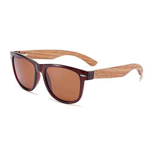QFSLR Gafas de sol, Clásico Redondo Polarizado Gafas de sol para Hombres y Mujeres, Gafas de sol de madera, Protección Uv400,G