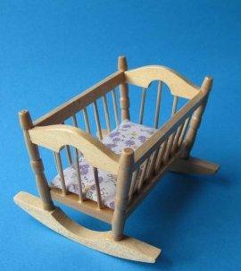 Unbekannt Puppenwiege Eiche hell Puppenhausmöbel Miniatur 1:12