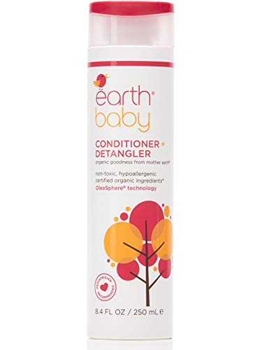 Earth Baby Conditioner + Detangler, Hypoallergenic for Sensitive Skin, Natural and Organic, for Babies Toddlers and Kids, 8.4 Fl Oz