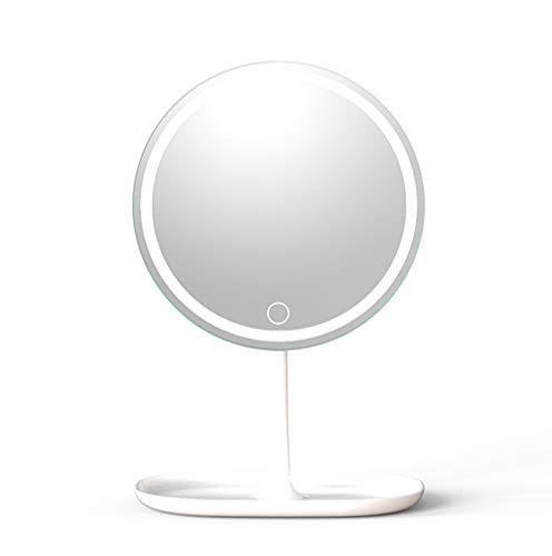 Qilo Iluminado LED portátil Recargable del Espejo cosmético, Sensor de Contacto del Interruptor Ajustable de Brillo del Maquillaje HD Espejo (Blanco)