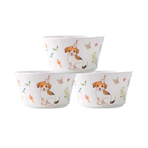 AHAI YU Conjunto de la historieta creativa entre 3 platos de cerámica, salsa pequeño tazón de fuente del vajilla del hogar Seguridad y Salud del plato Dip Tazón condimento Plato de acompañamiento plat