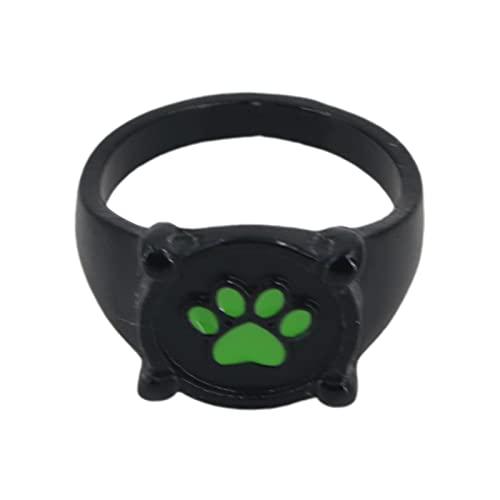 WDBK Anillos Hecho a Mano Cat Noir Anillo Cat Green Magical, Anime Cosplay Disfraz de Aley de Zinc Accesorios para Niños Adultos Cosplay