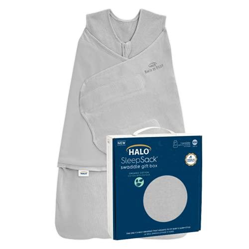 HALO Sleepsack Swaddle Organic Cotton Newborn 1 Piece Gift Set, Cloud