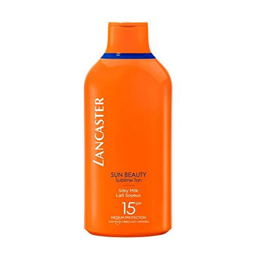 LANCASTER Sun Beauty Silky Milk LSF 15, Körper-Sonnenschutz-Milch, Full-Light-Technologie, Bräunungsaktivator, 400 ml