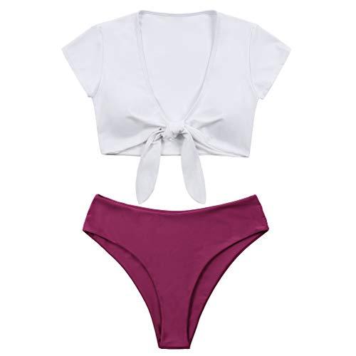 Lemonfish Women's Bikini Swimsuit Plus Size, Tie Knot Front Swimwear Set 2 Pieces Bathing Suits White Purple,3XL