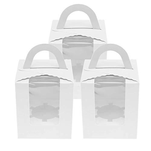 OTOTEC - Caja para Tartas con Ventana para Ventana de Color Blanco/Rosa/Azul/Verde, 10/20 Unidades, 9,5 x 9,5 x 11 cm