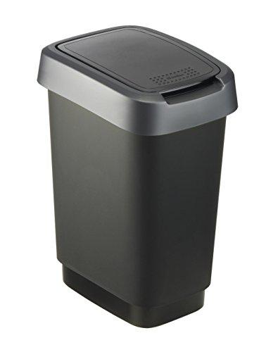 """Rotho Mülleimer """"Twist"""" 10 Liter -  24.8 x 18.1 x 33 cm - Papierkorb aus Kunststoff (PP) in schwarz/dunkelsilber - Abfallbehälter mit Schwing- oder Klappdeckel"""
