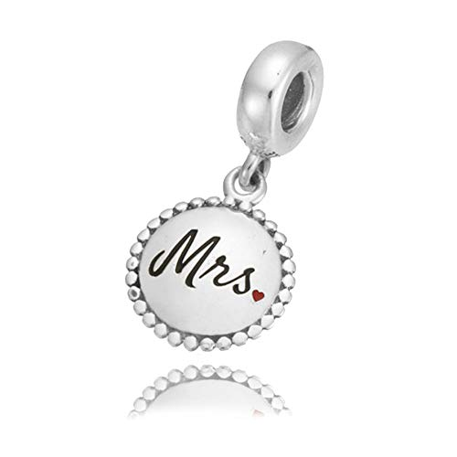 Mrs. Authentic 925 Sterling Silver Bead Charm Fits Pandora Charm Bracelet DIY Crafting