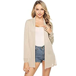 Abollria Cardigan for Women Summer Waterfall Lightweight Long Sleeve Open Front Cardigans