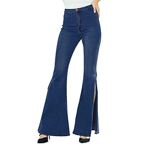 SCYDAO Jeans in Fondo A Campana per Donna Plus Size Spalato A Vita Alta A Vita Alta Gamba Larga,Dark Blue,3XL