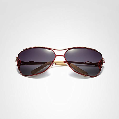 Sunglass Fashion Gafas de Sol de Moda Polarizador para Mujer Gafas para Exterior Gafas de Sol clásicas (Color : Red, Size : Free)