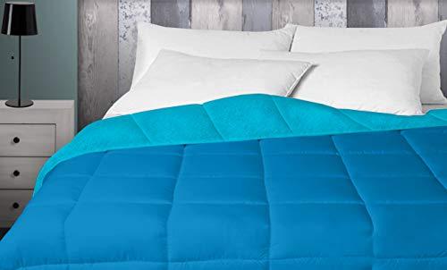 Energy Colors Textil - Hogar - Oshawa - Relleno Nórdico 400 gr Reversible Liso Tacto Pluma Otoño/Invierno (Turquesa- Azul, 150_x_220_cm) Cama 90
