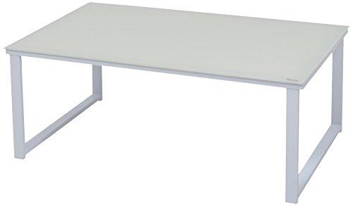 More Design MOUSE-TB-H35-BC Tavolino da Salotto Struttura Metallo Laccato/Superficie Cristallo temperato Laccato Bianco, 80 x 50 x 32 cm