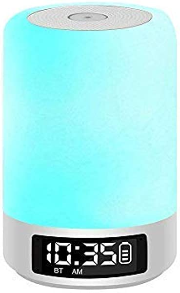 Celcube Touch Bedside Lamp With Wireless Bluetooth Speakers Smart Dimmable Colorful Night Light LED Table Lamp With Alarm Clock And Hands Free Time Display Gift For Kids Children Men Women