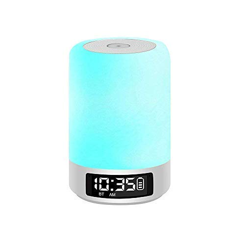 Celcube Touch Bedside Lamp with Wireless Bluetooth Speakers, Smart Dimmable Colorful Night Light, LED Table Lamp with Alarm Clock and Hands-Free Time Display, Gift for Kids Children Men Women