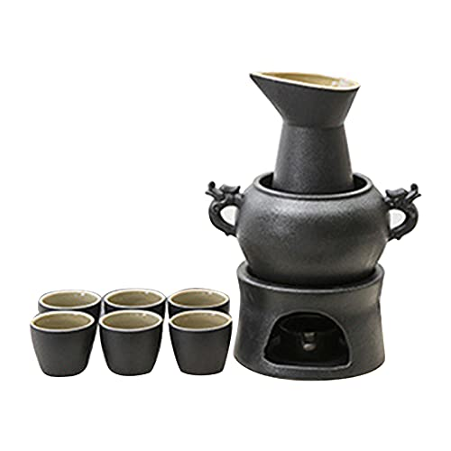 XXXD Black Pottery Ssangyong Candelabro calentador de vino, jarra caliente para el hogar, calefacción eléctrica, arroz y vino, juego de 1