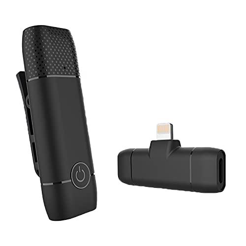 BMDHA Microfono Lavalier Inalambrico Plug-Play,Microfono Inalambrico ReduccióN De Ruido Inteligente SincronizacióN AutomáTica,MicróFono InaláMbrico para Vlog(No Se Requiere AplicacióN Ni Bluetooth)
