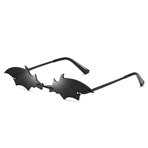 Tianayer Frauen Bat Shaped Sonnenbrillen Randlos dünner Sommer-Brillen Neuheit Brillen (Bat-Schwarz)