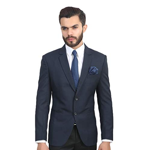 MANQ Men's Slim Fit Single Breasted Blazer (SB-BLUE--40_Navy Blue_40)