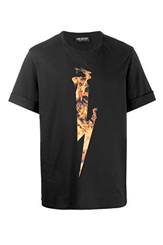 Neil Barrett Hombre Camiseta Flame Thunderbolt Black - Orange
