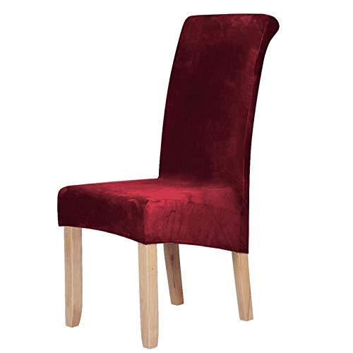 Homaxy Velvet Stretch Esszimmerstuhl Hussen - Spandex Plüsch Stuhlhussen Solide Großes Esszimmer Stuhl Protector Home Decor Set 6, Weinrot
