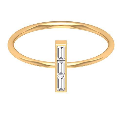 Anillo de boda minimalista, anillo de barra de diamantes, anillo de diamante de corte Baguette HI-SI, delicado anillo de aniversario, anillo de promesa, anillo diario, 14K Oro amarillo, Size:EU 67