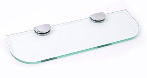 Glasablage mit abgerundeten Ecken, 3 Größen (300mm, 400mm, 500mm) und 3 Farben (transparent, weiß, schwarz) für Badezimmer, Küche, Schlafzimmer, Glas, farblos, 300mm x 100mm