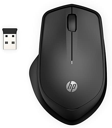 HP - PC Mouse Silent 280M Wireless, Tecnologia LED Blu, riduzione rumore fino al 90%, 3 Pulsanti e Rotella di Scorrimento, Design ergonomico, Ricevitore Nano Incluso, Design Moderno, Blu