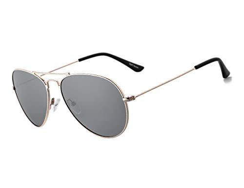 Rocf Rossini Gafas de Sol Aviador para Mujer Gafas Polarizadas Retro de Hombre con Protección UV400 para Pescar Conducir Playa(gold/grey)