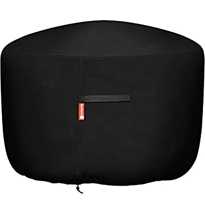 """Round Gas Fire Pit / Table Cover - Heavy Duty 300D Polyester with PVC Coating Material, 100% Weather Resistant and Waterproof, Fits 36 inch,35 inch, 34 inch Fire Pit/Bowl Cover,Black, 36"""" DIA X 24""""H"""