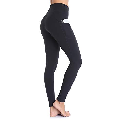 OJIRRU Cintura Alta Pantalón Deportivo Mujer Leggings Mujer para Running Training Fitness Estiramiento Yoga y Pilates Dp16 (Negro, L)