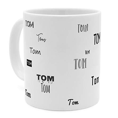 printplanet Tasse mit Namen Tom - Motiv Schriftarten Sammlung - Namenstasse, Kaffeebecher, Mug, Becher, Kaffeetasse - Farbe Weiß