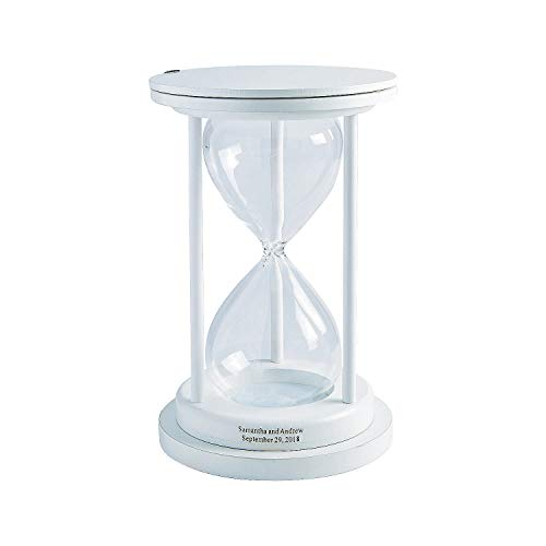 White Personalized Sand Ceremony Hour Glass - 1 Piece - Wedding Supplies