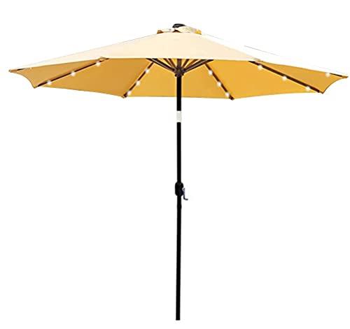 MXBC Paraguas de patio con energía solar con inclinación y manivela, aluminio poliéster 32 LED iluminado mesa paraguas y sombra (tamaño: 9 pies