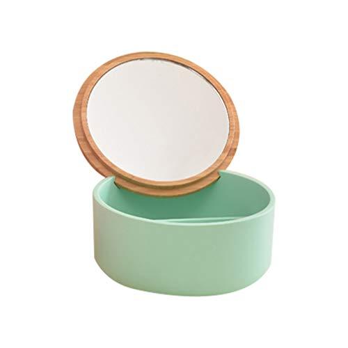TOPBATHY Mini Boîte à Bijoux avec Miroir Maquillage Miroir Boîte Résine Bambou Couverture Ronde Cosmétiques Boîte Commode Organisateur Récipient à Bijoux pour Table Femmes (Vert)