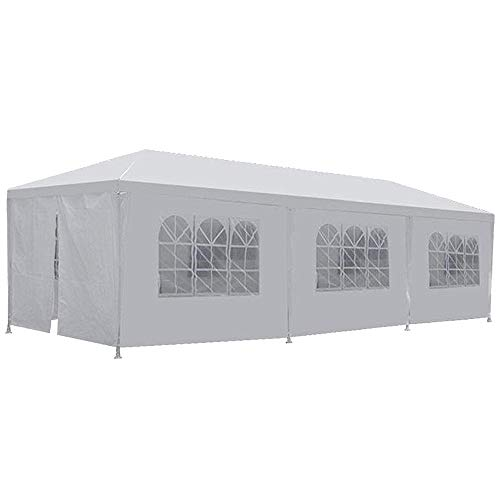 Dkeli 10'x30' Party Canopy Tent Outdoor Wedding Waterproof UV Protection Gazebo Pavilion with 8 Removable Sidewalls Heavy Duty Portable Camping Shelter BBQ Pavilion Canopy Cater Events, White