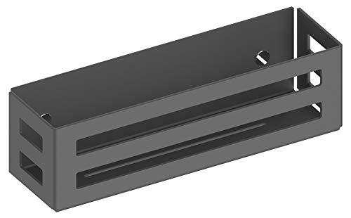 KEUCO Duschkorb aus Aluminium, schwarz-grau, mit abnehmbarem Korb, Ablaufschlitze, 32x9x12cm, Wandmontage in der Dusche, Duschregal leicht zu reinigen