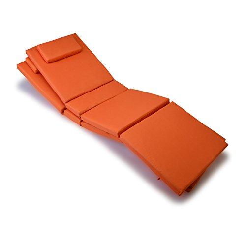 Nexos GL06021_SL2 Divero 2-er Set Liegen-Auflage Kopfkissen für Sauna Garten Terrasse hochwertig orange,
