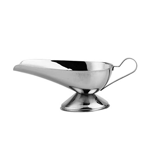 BOCbco Gravy Boats & Stands Gravy Boat Stainless Steel Gravy Boat, Stainless Steel Saucier with Ergonomic Handle and Big Dripless Lip Spout Sauce Boat Gravy Boat Gravy Sauce Boat/Saucer Stand,Large
