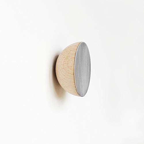 Ø 6cm - Ronde Beukenhout & Aluminium Kapstok/Jashaak/Knop