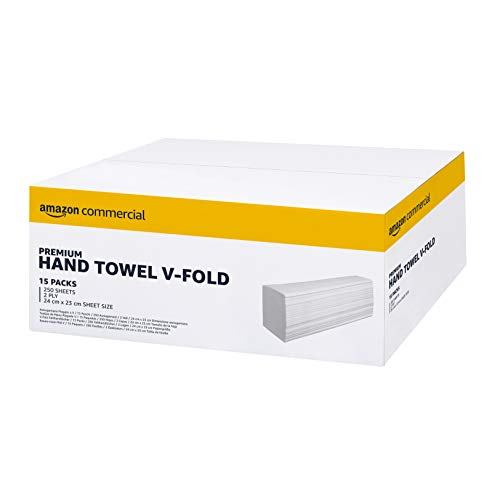 AmazonCommercial Interfold V-Falz Altpapier handtücher, 23*24.5 cm - 2 Lagig - 15 Packungen, 3750 Blatt
