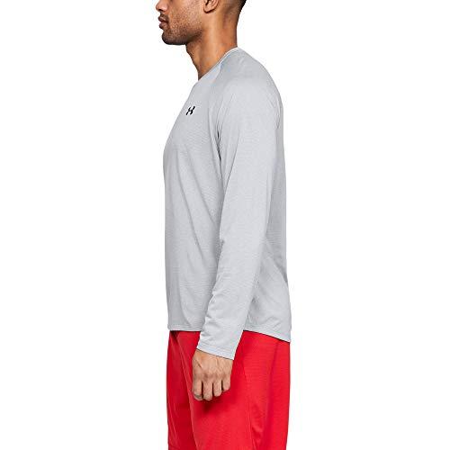 Under Armour Herren-T-Shirt Tech 2.0, langärmelig, Herren, Langärmelig, Men's Tech 2.0 Novelty Long Sleeve T-Shirt, Halo Gray (014)/Schwarz, 3X-Large