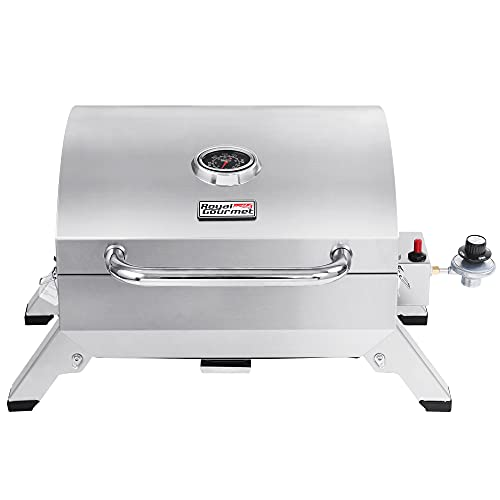 Royal Gourmet GT1001 Stainless Steel Portable Grill, 10000 BTU BBQ Tabletop Gas Grill with Folding Legs and Lockable Lid, Outdoor Camping, Deck and Tailgating, Silver