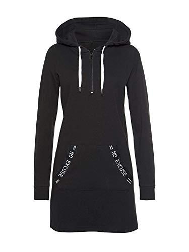 ORANDESIGNE Damen Hoodie Kleid Herbst Langarm Sweatshirts Kapuzenpullover Streetwear Jumper Pullover Mini Kleider Schwarz L