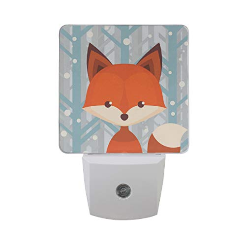 2 Pack Plug in LED Night Light Plug-in, Ultra-Slim, and Cool-Touch Dusk to Dawn Sensor Night Lamp Brown Fox Kids Adults and Nursery Decor Night Light