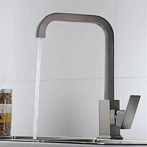 WANDOM Grifo de latón para fregadero de cocina Grifo giratorio gris frío y caliente Mezclador de baño dorado pulido-style_2_grey