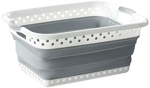 Homz Rectangle, White and Grey Collapsible Plastic Laundry Basket