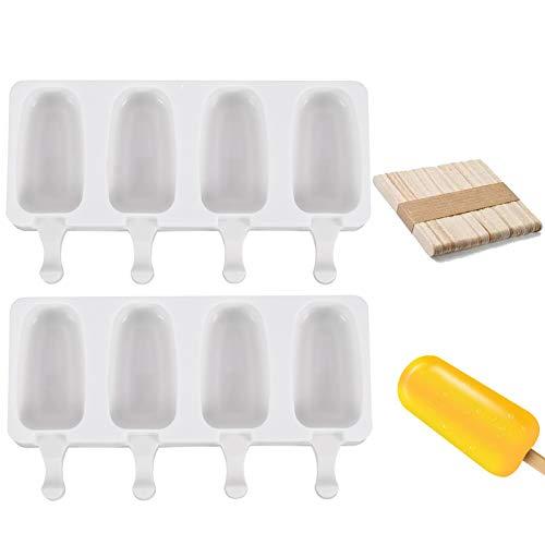 Eisformen BPA Frei Wiederverwendbar Silikon-Form Eisformen für Stieleis Kreative DIY Eiscreme DIY Popsicle Formen Set Eis Am Stiel Eislutscher Popsicle Formen Wiederverwendbare Stieleisformer 2 Stücke