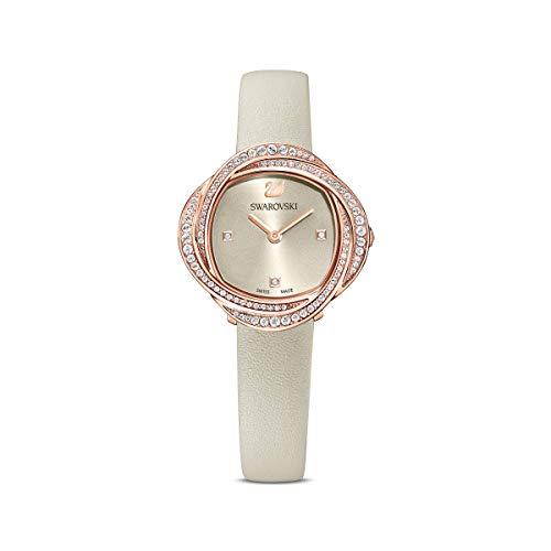 Swarovski Crystal Flower Uhr, Damenuhr mit Rosé Vergoldetem Gehäuse, Grauem Zifferblatt, Swarovski Kristallen und Grauem Lederarmband